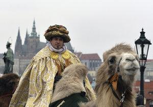 Tři králové na velbloudech vedli po Karlově mostě průvod, který 3. ledna zahájil šestnáctý ročník Tříkrálové sbírky v Praze.