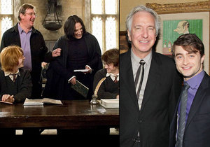Daniel Radcliffe alias Harry Potter se rozloučil se svým filmovým profesorem Alanem Rickmanem.