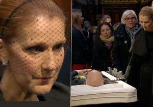 Céline Dion na pohřbu manžela několikrát propukla v neutichající pláč.
