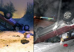 Totálně sjetý řidič z Plzně boural: Jeho vůz skončil na střeše