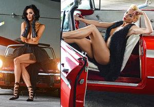 Dvě sexy svlečené krásky Hana Mašlíková a Gabriela Bártová pózovaly s luxusními vozy.
