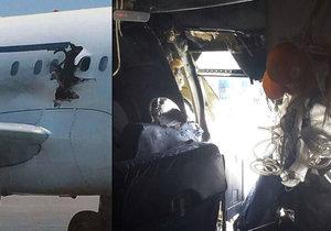 Hořící muž, který byl vysán z letadla dírou po explozi, byl podle vyšetřovatelů teroristou.