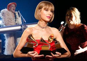 Lady Gaga na Grammy ukázala zrzavé vlasy, Taylor Swift si převzala tři ceny a Adele se musela potýkat s problémy se zvukem.