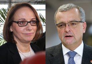Pražská primátorka Adriana Krnáčová (ANO) a šéf TOP 09 Miroslav Kalousek