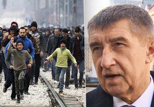 Andrej Babiš varuje před migranty, kteří mohou skončit na českých hranicích