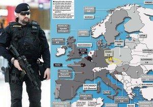 Na úterní bruselské krveprolití reagovaly vlády evropských států různě. Některé cítí vysoké ohrožení, jiné asi doufají, že se teroristé jejich zemi vyhnou.