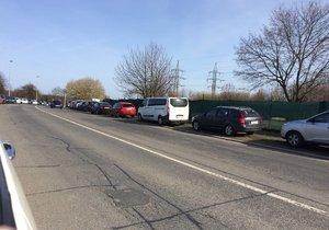 Řidiči, kteří na Ladronce nenašli vhodné místo k parkování, postavili své automobily přímo na trávník.