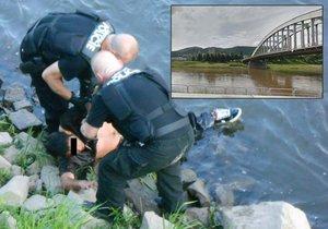 Muž v Ústí nad Labem skočil z mostu do Labe. Chtěl spáchat sebevraždu.