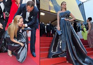 Petra Němcová klopýtla na červeném koberci v Cannes.