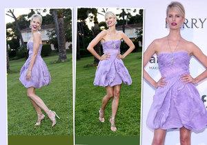 Karolína Kurková na amfAR oblékla fialkové šaty.