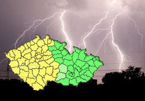 Žlutá barva ukazuje místa, kudy se proženou bouřky