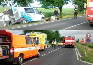 Nehoda u Říčan zablokovala tah na Prahu: Řidič dodávky je mrtvý