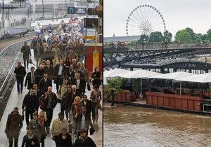 Záplavy řádí ve Francii, železničáři stávkují.