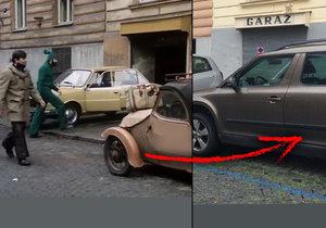 V ulici Vozová v Praze 3 se Vrána (Josef Abrhám) často potkával se sousedem Pařízkem (Zdeňkem Svěrákem).