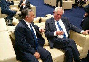 Ze zákulisí summitu NATO: Miloš Zeman s Viktorem Orbánem