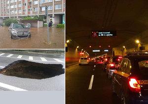 Bouřka v Praze napáchala mnoho škod.