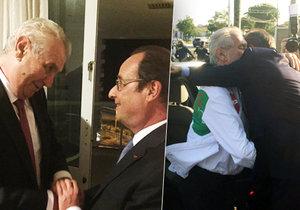 Miloš Zeman se v Riu de Janeiro potkal s Françoisem Hollandem, vřele ho přivítal Andrej Kiska.
