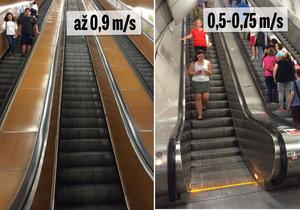 Staré sovětské eskalátory mohou jezdit rychleji. Nové jsou kvůli evropské normě pomalejší.