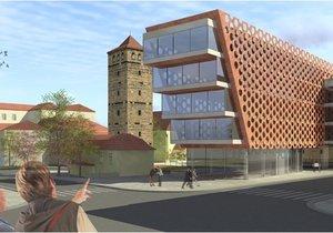 Vizualizace, která na místě navrhovala postavit tzv. Hudební dům (2010).