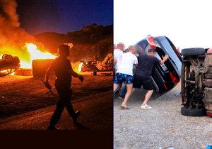 Při nepokojích, při nichž byl zraněn někdejší český legionář, se podpalovala auta.