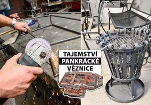 Zaměstnaní vězni v pankrácké věznici vlastnoručně vyrábí kovové výrobky, které jsou určené k prodeji. Například svícny, grily, ozdobné mříže nebo lavička.