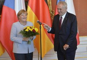 Angela Merkelová a prezident Miloš Zeman