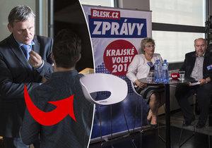 Místo Jiřího Čunka diváci viděli jen prázdnou židli.
