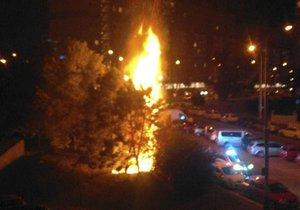 V pražských Řepích hořely stromy. Lidé hasili i sami, aby zachránili auta