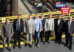 Lídři kandidátek v Moravskoslezském kraji: Pavel Koruna z Úsvitu, Petr Jančík (Koalice STAN a Ostravak), Ivo Vondrák (ANO), Jakub Unucka (ODS), Liana Janáčková (Nezávislí), Miroslav Novák (ČSSD), Lukáš Curylo (KDU-ČSL) a Josef Babka (KSČM)