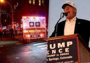 Trump chce proti teroristům přitvrdit. Reagoval tak na výbuch v New Yorku. Zatím se neví, kdo za explozí stojí.