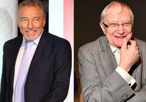 Karel Gott gratuloval Jiřímu Suchému k 85. narozeninách. Za svou hvězdnou kariéru z velké míry vděčí právě jemu.