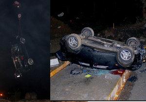 Řidič přehlédl chybějící most a zřítil se do propasti: Pro zraněné musel vrtulník