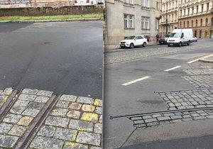 Zbytky kolejí se nacházejí po celé Praze.