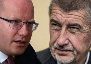 Předseda ČSSD Bohuslav Sobotka a šéf hnutí ANO Andrej Babiš