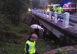 Drama na Plzeňsku: Auto plné lidí se zřítilo z mostu! Byly v něm i děti