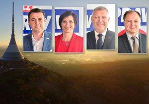 Lídři stran, kteří zřejmě na Liberecku sestaví vládní koalici. Zleva: Martin Půta -  (Starostové pro Liberecký kraj, Jitka Volfová - ANO, Dan Ramzer - ODS, Radek Cikl - ČSSD)