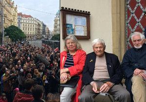 Na Strossmayerově náměstí se sešly stovky lidí, aby uctily památku dětí vězněných v Terezíně. Na místo dorazil i Jiří Brady s manželkou a Toman Brod. Oba koncentrační tábory přežili.