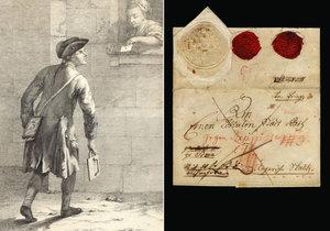 """Když přišel pošťák do ulice, rozezněl klapačku, aby o něm lidé věděli. Takto vypadal dopis, který byl """"klapačkovou poštou"""" odeslán."""