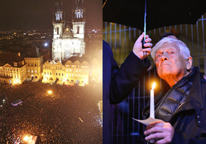 Tisíce lidí na Staroměstském náměstí aplaudovaly Jiřímu Bradymu, zapalovaly svíčky i zpívaly hymnu.
