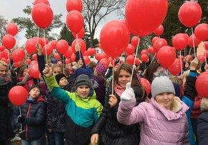 V Kyjově na Hodonínsku dnes přibližně 1900 lidí vytvořilo za pomoci balónků obří květ vlčího máku. Uctili tím Den válečných veteránů.