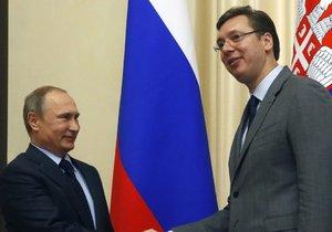 Ruský prezident Vladimir Putin a srbská hlava státu Aleksandar Vučič