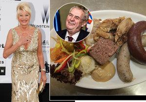 Ivana Trump a Miloš Zeman si oba rádi pochutnávají na jitrnicích.