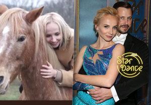 Herečka Jana Plodková s tanečním partnerem ze StarDance vyzkoušeli netradiční jízdu na koni.