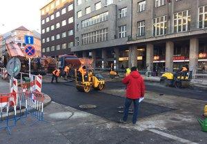 V Sokolské se stále pracuje, ulice by měla být zcela otevřena v úterý vpodvečer