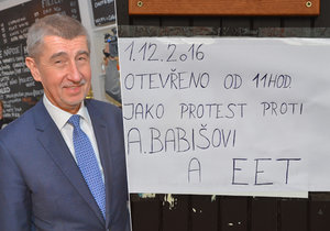 Ministr financí Babiš dnes od rána kontroluje EET v praxi.