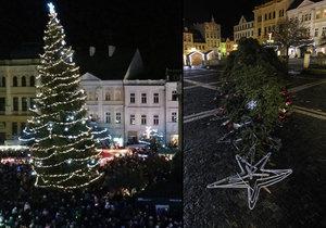 Česká Lípa přišla o vánoční strom: Dvacetimetrový smrk »pokácel« silný vítr