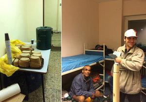 Noclehárna Vackov má pokoje pro osm lidí. Bezdomovci dostávají při příchodu chléb či deku.