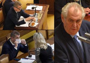 Prezident Miloš Zeman při projevu ve Sněmovně a vicepremiér Andrej Babiš (ANO) při boji s nemocí