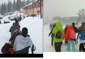 Uvězněná třída na lyžařském výcviku se vydala domů lanovkou.