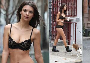 Modelka Emily Ratajkowski točila reklamu pro DKNY.